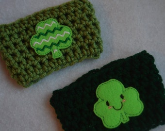 St. Patricks Day Coffee Cozy, Clover Coffee Cozy, Clover Cozy, Coffee Cozy, Cozy