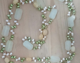 Long vintage gemstone and real Pearl necklace