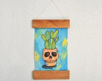 Wooden Rail Handmade Paper - Cactus Art Print - Potted Cactus Wall Art - Succulent Art Print - Home Decor - Wall Art