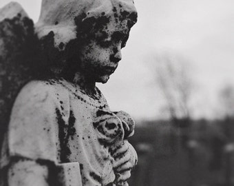 Photography of an angel, emotion, adore, cross, statue cemetery, B/W photo, artistic photography, serenity, peace, mourning
