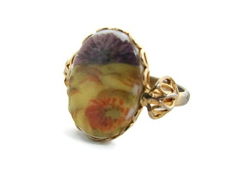 Nature ring Porcelain ring Oval boho Landscape ring Gold tone Adjustable ring Boho ring Yellow Purple ring  Victorian ring painted cabochon