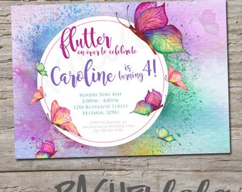 Watercolor Butterfly, Birthday invitation, printable, digital print