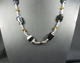 Square Black Agate and Amber crystal Bead Necklace