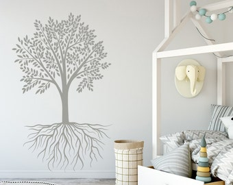 Vinyl Tree Wall Decal Tree Roots Vinyl Sticker Decals Home Decor Nursery Bedroom Art Design Interior V1032