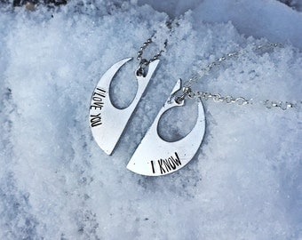 rebel inspired necklace, i love you i know necklace, his and hers neckalce, couples necklaces, his and her gift, fan jewelry, geekery