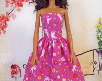 Handmade, Barbie Clothes, Hot Pink, Kitty Cat, Doll Dress, Fashion Doll Clothes, Party Dress, Barbie Dress, Pink Dress, Girls Gift Idea