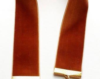 Tan Velvet Ribbon Bookmark Vintage Jewelry, Book Mark, Religious Charm & Rhinestones