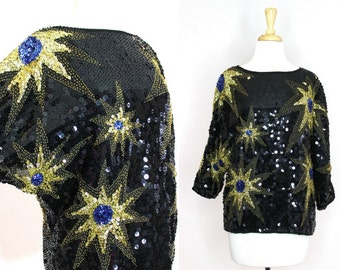 Vintage Sequin Blouse Starburst Gold