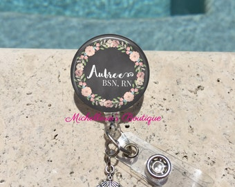 Retractable Badge Holder, Floral Chalkboard Personalized Badge Reel, Monogram Badge Reel, Nurse Badge Reel, Badge Holder, MB301