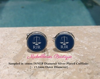 Scales of Justice Personalized Mens Cufflinks,Scales of Justice Cufflinks,Monogram Mens Cufflinks,Tie Clip,Lawyer,Attorney,Navy, MB307