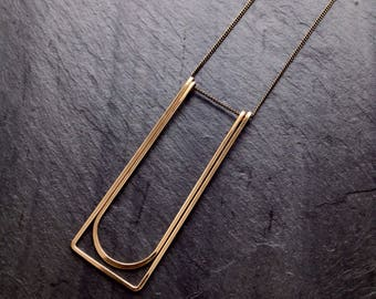 Gold Geometric, Cocoon, By Loop Jewelry, Sterling Silver, Gold-fill, Architectural Jewelry, Portland Jewelry, Deco, Slow Jewelry, Rectangles
