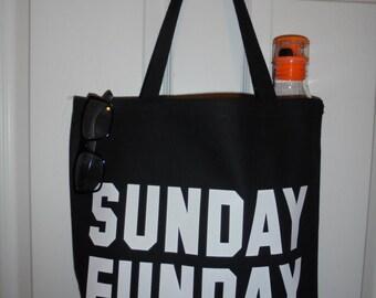 "Black ""Sunday Funday"" Heavy Duty Canvas Tote Bag"
