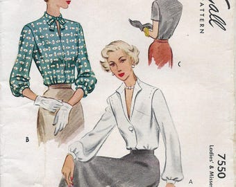1940s McCall's 7550 Misses' Blouses Sewing Pattern CUT