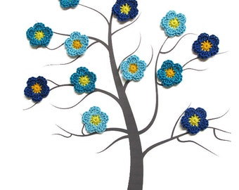 Tiny flower appliques, 12 pc., 0.8 inches, crocheted, blue yellow mix