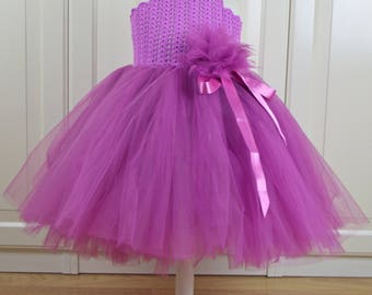 Bright Purple Tutu Dress with  Lacy Stretch Crochet  Bodice. Tulle Flower Girl Dress.