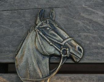 Brass Horse Head Hook Peerage England - Horse Head Coat Hook Brass - Equine Equestrian Decor - Horse Decor - Peerage England Brass
