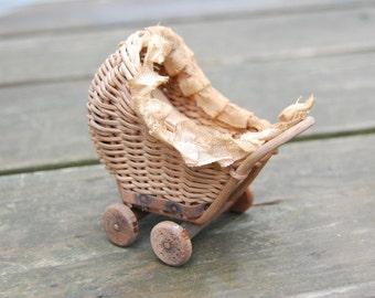 Miniature Dollhouse Wicker Baby Carriage - Vintage Wicker Dollhouse Stroller Carriage Pram - Victorian Dollhouse Baby Carriage Stroller