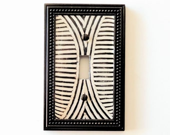 african carving light switch cover african decor zulu shield pattern light switch plate - African Decor