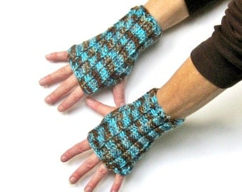 Turquoise and Brown Crochet Fingerless Gloves Texting Gloves Fall Handwarmers Boho Wristwarmers