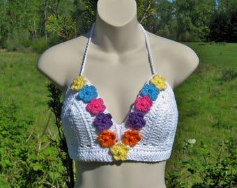 White Crochet Halter Top with Flowers Festival Halter Hippie Top Rave Bra Boho Halter