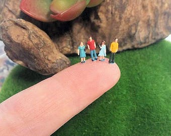 10 small micro miniature plastic people figures diorama or glass ball terrarium or miniature dome jewelry glass ball filler