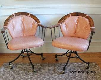 Pair of Mid Century Modern Pink Upholstered Rolling Swivel Armchairs Swedish