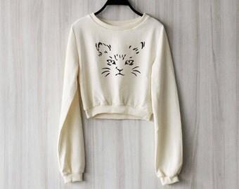 Cat Crop Top Sweatshirt Sweater Jumper Pullover Shirt – Size S M L