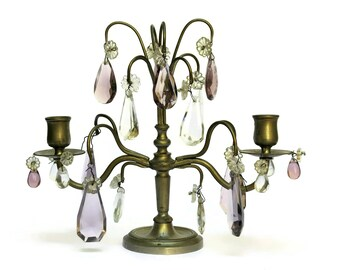 Antique French Crystal Candelabra. Shabby French Home Décor.