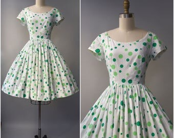 1950's Murray Millman green polka dot cotton dress • small