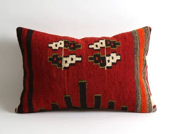 Red kilim lumbar throw pillow cover 12x18 Bohemian Chic Home Decor