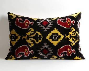 Black Velvet Ikat Pillow Cover Ikat Pillows Velvet Lumbar Yellow Black Red Pillows Living Room Pillow Decorative Throw Pillows Accent Pillow