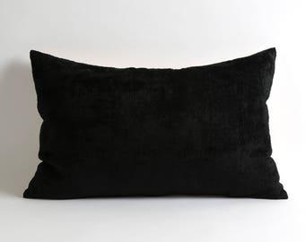 Black bedding decor silk velvet ikat pillow cover // handwoven black velvet pillow // scandinavian modern home decor