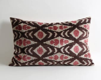 Pink brown cream throw pillows cover 14x22 velvet pillows // handwoven silk velvet ikat pillow