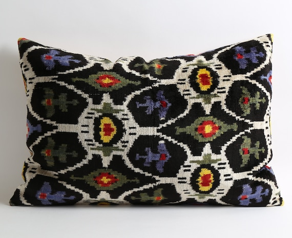 Ikat Velvet Pillow Cover Decorative Throw Pillows For Sofa