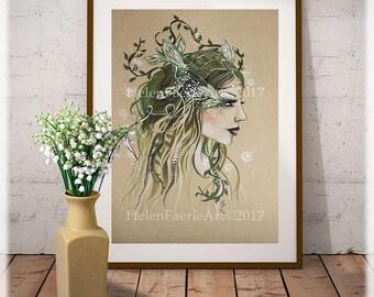 Woodland Fairy, Green Fairy Print, Green Fairy, Ready to Frame Print, Fairy Wall Art, Fairy Art Print, Fairy Wall Decor, Fantasy Fairy Art