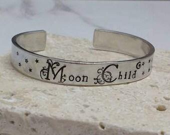 Moon child pretty floral font boho hippy stars 12mm cuff bracelet, handstamped