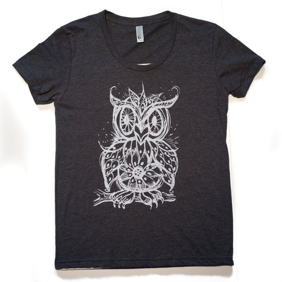 Mosaic Owl T Shirt Womens Charcoal American Apparel Swoop Neck