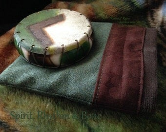 Kenaz - hand painted Deer skin - travel size - custom mini shaman drum rattle w/ pouch - Rune of Opening - Torch of Illumination