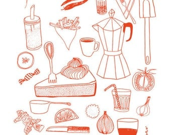 ROT Siebdruck Küchenhandtuch - words & illustration screen printed tea towel with illustrations by amelie persson