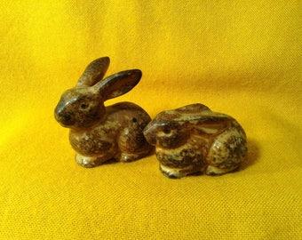 Set of 2 Vintage Bunny Rabbit Miniature Figurines - Dark Brown Glazed - OMC, Japan