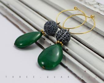 Earrings, dark green, blue, marbled, gold, hoops, vintage, designer, stylish, boho, hippie, dark blue, white, pattern, beads, boheme