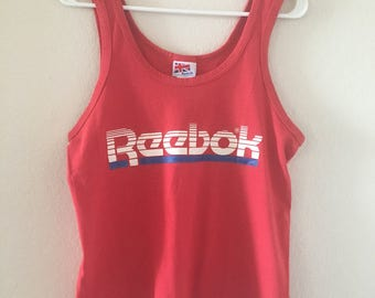 vintage 80's RED REEBOK TANK top - small, medium, 50/50 polycotton