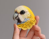 Pale headed Rosella .parrot . brooch . handmade . felt . needle felted . embroidery . brooch .animal