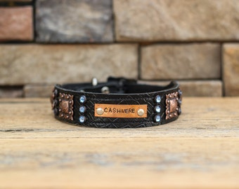 CUSTOM Leather Dog Collar // Black Croc w/ Copper Accents
