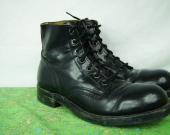Vintage 90s Grunge Boots Biltrite Soles - H.H. Brown - Size 6D men's US, Women's 9 US - Military Style Army Boots Steel Toe - D306