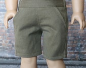 American BOY Doll Clothes | Green Olive Slant Pocket Woven SHORTS for 18 inch doll such as American Girl Doll