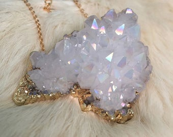 Angel Aura Cluster Quartz  Necklace Druzy Spirit Quartz Necklace Jewelry Statement Gold Large Raw Quartz Angel Aura Druzy Pendant Stone Gold