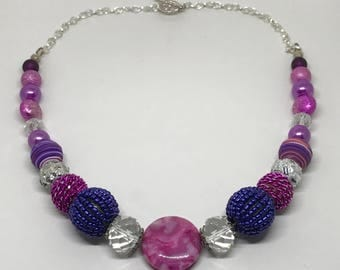 Purple and Pink Fantastically Fun Necklace