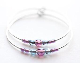 plum moon / amethyst purple and silver hoop earrings