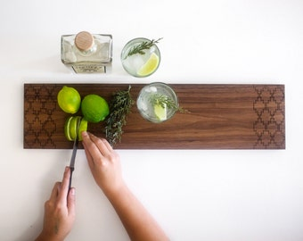 Boho Minimal, Solid Walnut Serving Board with Southwestern Engraving